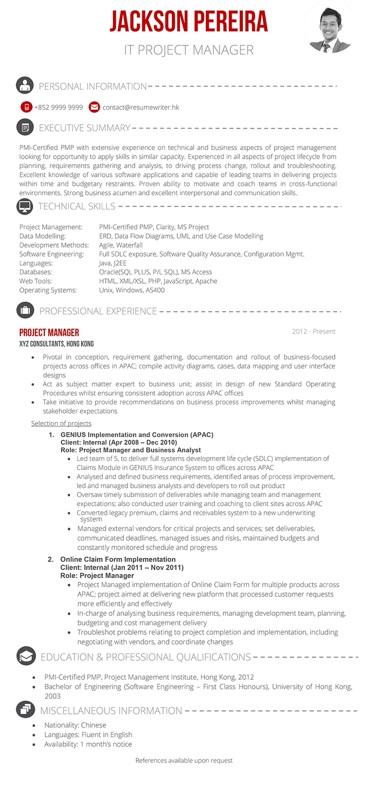 Sample Project Manager Resume | It Project Manager Sample Resume